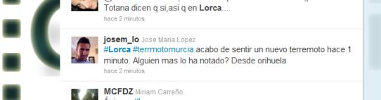 Twittero alertando de una nueva réplica en Lorca